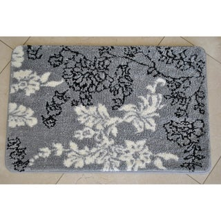 Memory Foam Grey/ White Floral 20 x 32 Bath Mat