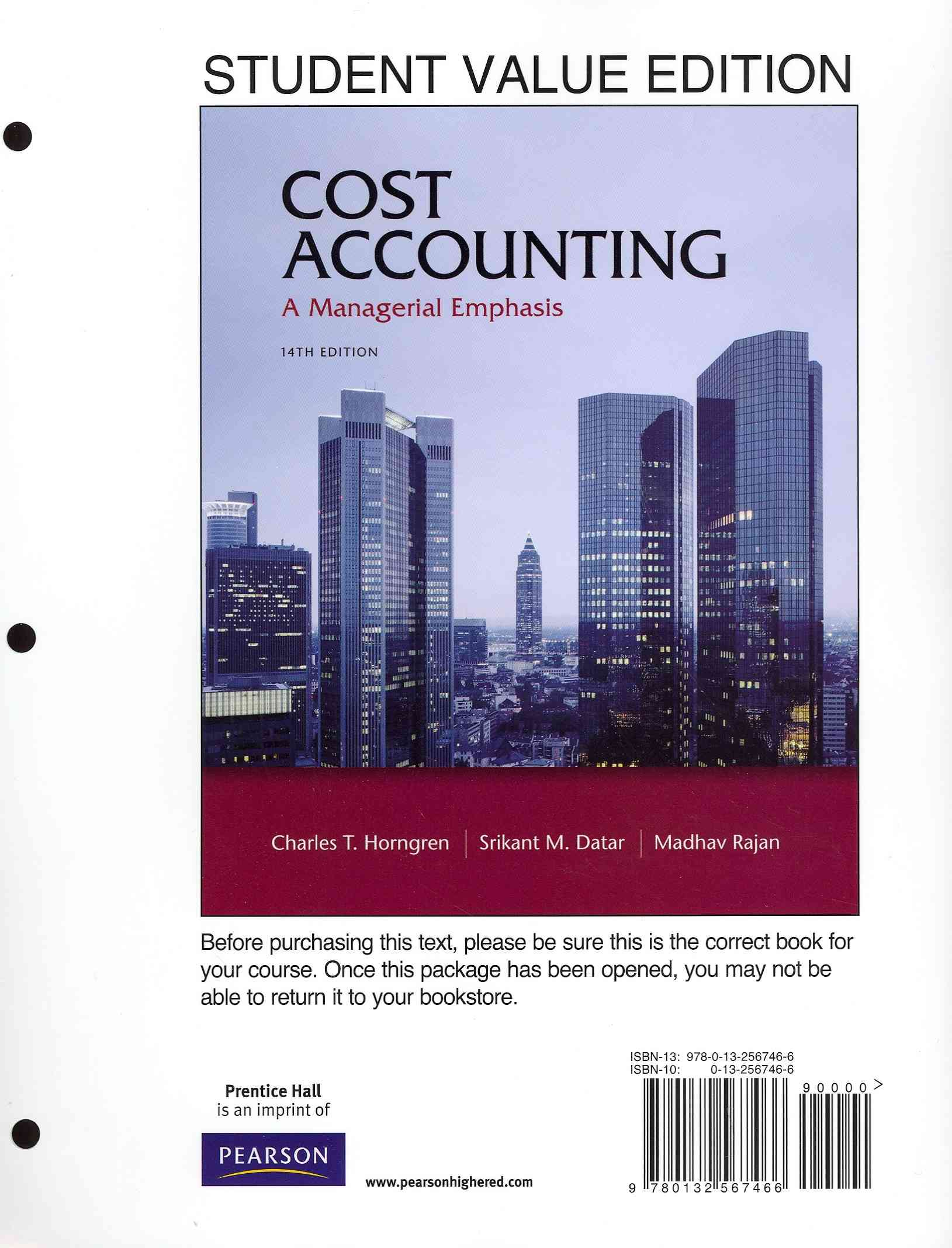Cost Accounting: A Managerial Emphasis (Other book format)