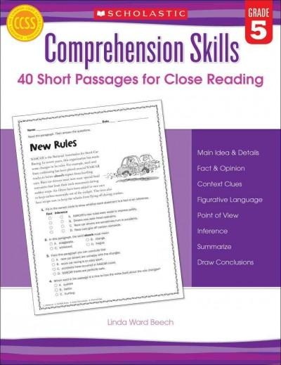 Comprehension Skills, Grade 5: 40 Short Passages for Close Reading (Paperback)