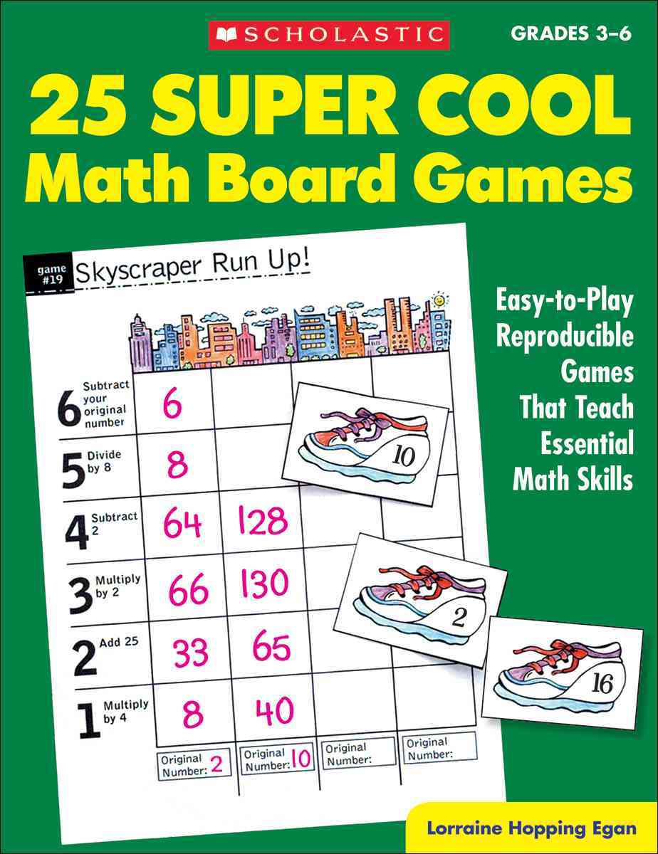 25 Super Cool Math Board Games Grade 3-6: Easy-to-play Reproducible Games That Teach Eseential Math Skills (Paperback)