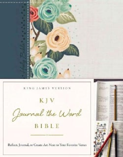 Holy Bible: King James Version, Journal the Word Bible, Hardcover, Green Floral Cloth, Red Letter Edition; Reflec... (Hardcover)