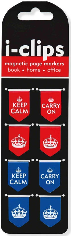Keep Calm & Carry on I-clips Magnetic Page Markers: Set of 8 (Bookmark)