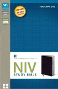 NIV Study Bible: New International Version, Black, Bonded Leather, Personal Size (Paperback)