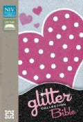 Holy Bible: New International Version, Pink Heart Clear View Glitter, Lay-Flat (Paperback)
