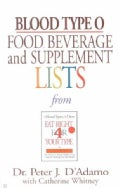 Blood Type O Food, Beverage, And Supplemental Lists (Paperback)