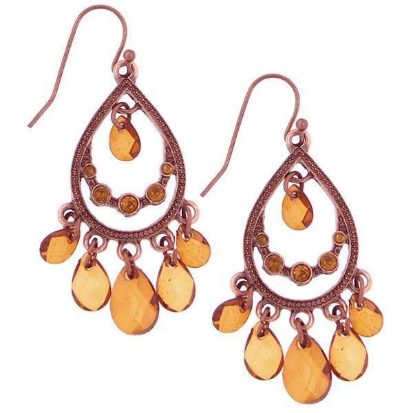1928 Jewelry Copper-tone Smokey Teardrop Earrings