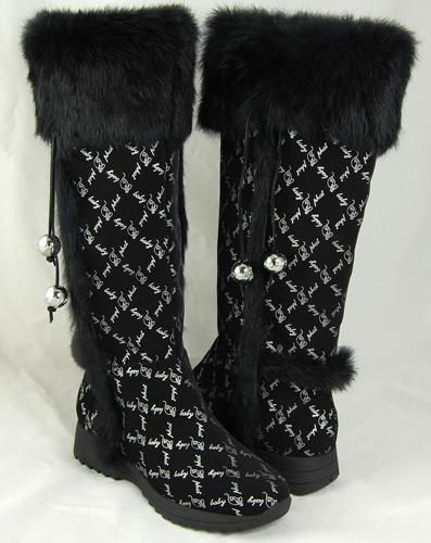 Baby Phat Womens Wauna Black Faux Fur Boots