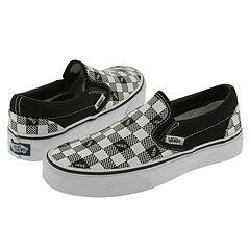 Vans Kids Classic Slip-On (Youth/Adult) Black (Vans Checkerboard)