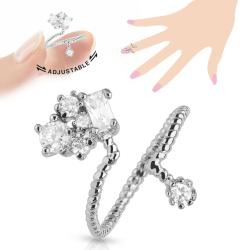 Cluster CZ Adjustable Rhodium Plated Brass Nail Ring