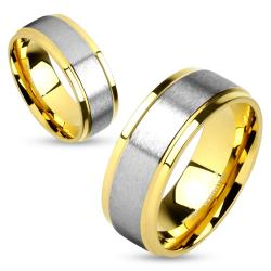 Two Tone Soft Brushed Metal Center Step Edge Gold IP Stainless Steel Couple Ring