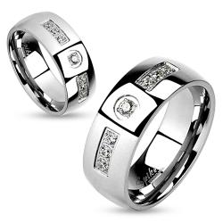 Gem Inlay with Center Gem Stainless Steel Couple Ring