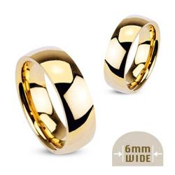 Stainless Steel Gold Plated 6mm Wide Glossy Mirror Polished Wedding Band Ring