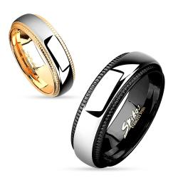 Milled Edge Two Tone IP Stainless Steel Couple Ring