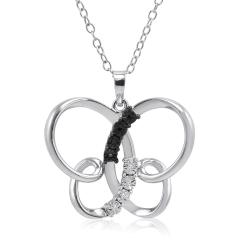 Amanda Rose Black and White Diamond Butterfly Pendant - Necklace in Sterling Silver