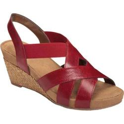 Women's A2 by Aerosoles Fire Light Wedge Sandal Red Faux Leather