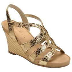 Women's Aerosoles Plush Plenty Wedge Sandal Gold Snake Faux Leather