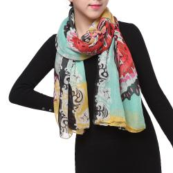 Spring Fashion Chiffon Scarf, Floral Butterfly Black Pink Red White Grey