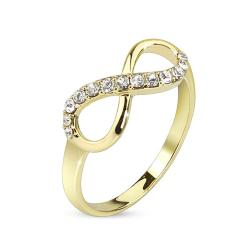 Infinite Pave Gemmed 14kt Gold Plated Brass Ring