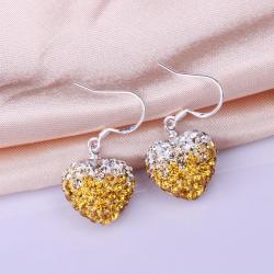 Vienna Jewelry Heart Shaped Swarovksi Element Drop Earrings-Yellow Citrine
