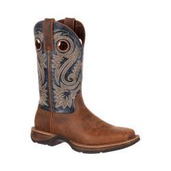 Men's Durango Boot DDB0075 12in Rebel Saddle Square Toe Boot Tan/Blue Leather