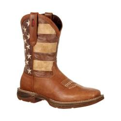 Men's Durango Boot DDB0078 12in Rebel Faded Glory Flag Boot Tan/Brown Distressed Flag Leather