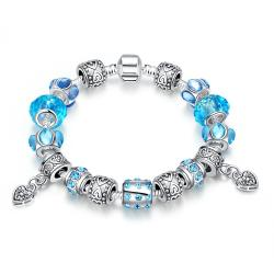 Vienna Jewelry Aruba Aqua Blue Pandora Inspired Bracelet