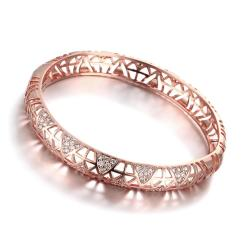 Vienna Jewelry Rose Gold Plated Aztec Inprint Bangle