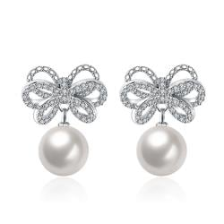 Cultured Pearl Infinite Bow-Tie Earrings