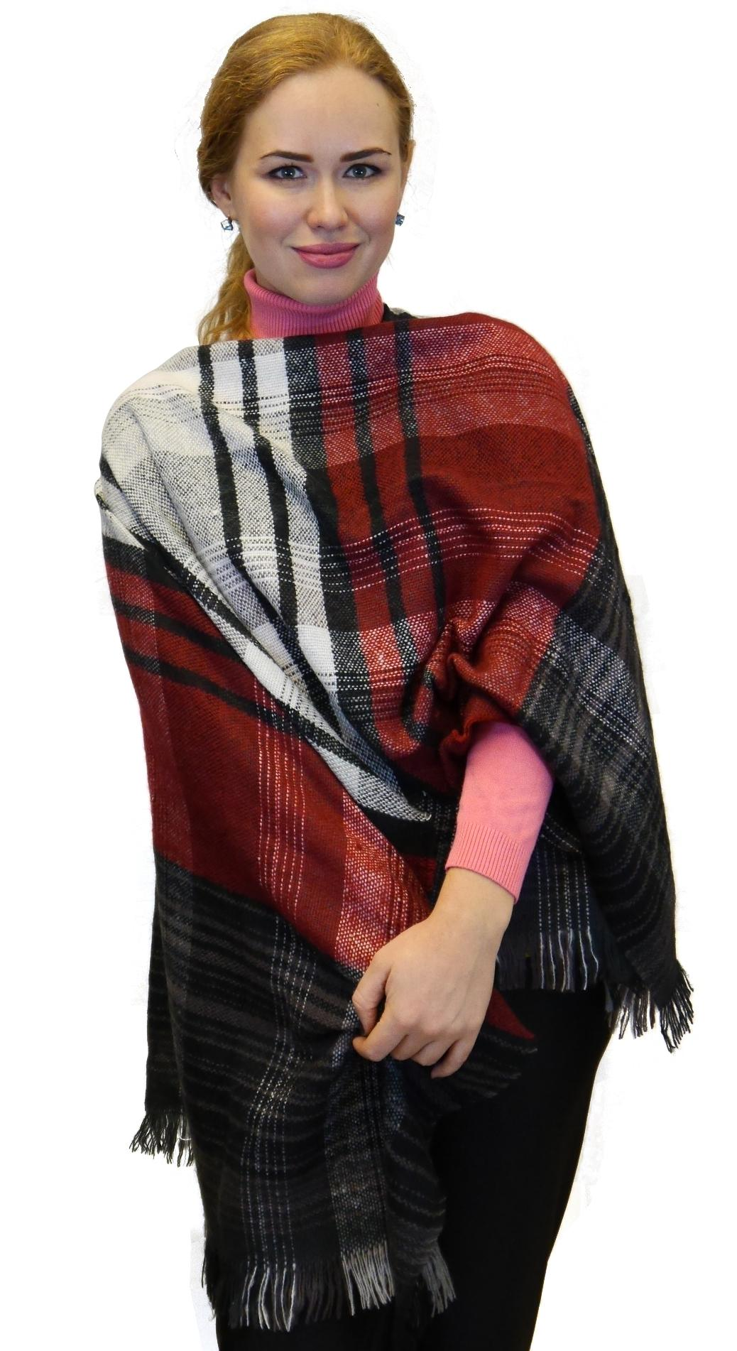 Plaid Checks Soft Wool Feel Poncho Cape Shawl Wrap Black