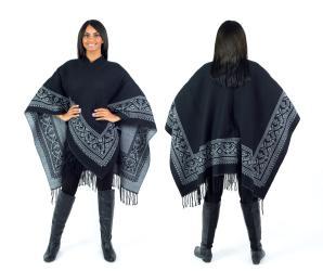 Women's Fall Winter Poncho Cape Shawl Wrap, White