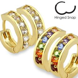 Pair of Pave CZ Gold Plated Over Brass Earrings