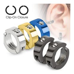 Color IP Pair of 316L Surgical Stainless Steel Non-Piercing Clip On Earrings with Single CZ