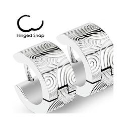 Pair of 316L Surgical Stainless Steel Hoop Earring with Brushed Steel Grooved Spirals