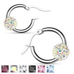 Pair of Colored Crystal B316L Surgical Steel Hoop Earrings