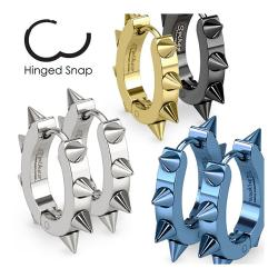 Pair of 316L Surgical Stainless Steel IP U Shaped Hoop Earrings with Spikes