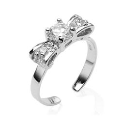 .925 Sterling Silver Bow Solitaire Cubic Zirconia Toe Ring