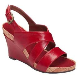 Women's A2 by Aerosoles True Plush Wedge Sandal Red Faux Leather
