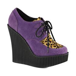 Women's Demonia Creeper 304 Wedge Oxford Purple Vegan Suede/Leopard Pony Hair