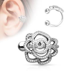 Rose with Paved Beads Non-Piercing Ear Cuff
