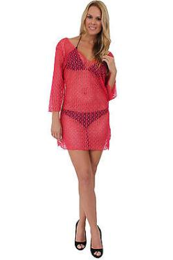 Women's Beach Dress Cover Up Long Sleeve Crochet Bikini SwimSuit Pool Summer
