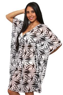 Women's Plus Size Beach Dress Cover Up Printed Chiffon Swimwear pareo