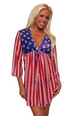 Women's Beach Dress Cover Up USA Flag Long Sleeve Swimwear Swimsuit Stars & Stripes