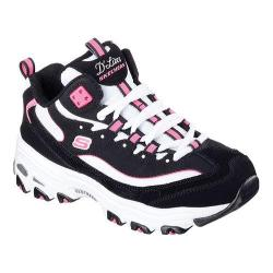Women's Skechers D'Lites D'Liteful Lace Up Shoe Black/White/Pink