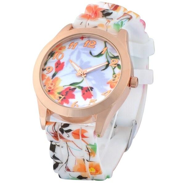 Zodaca Girls White and Orange Flower Print Silicone Watch