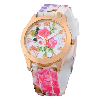 Zodaca White/ Hot Pink Flower Print Silicone Jelly Sports Watch