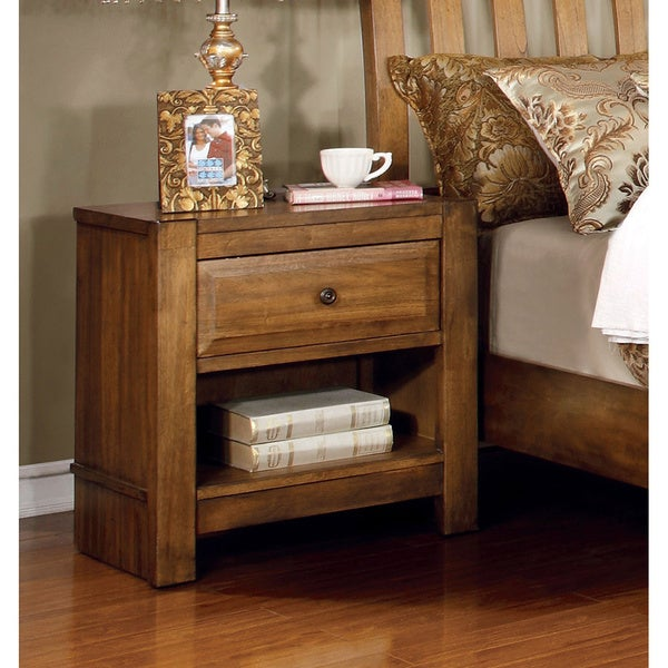 Furniture of America Dimare Country Style Rustic Oak Nightstand