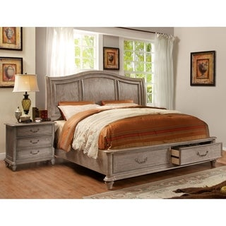 Furniture of America Minka III Rustic Grey 2-piece Bed with Nightstand Set