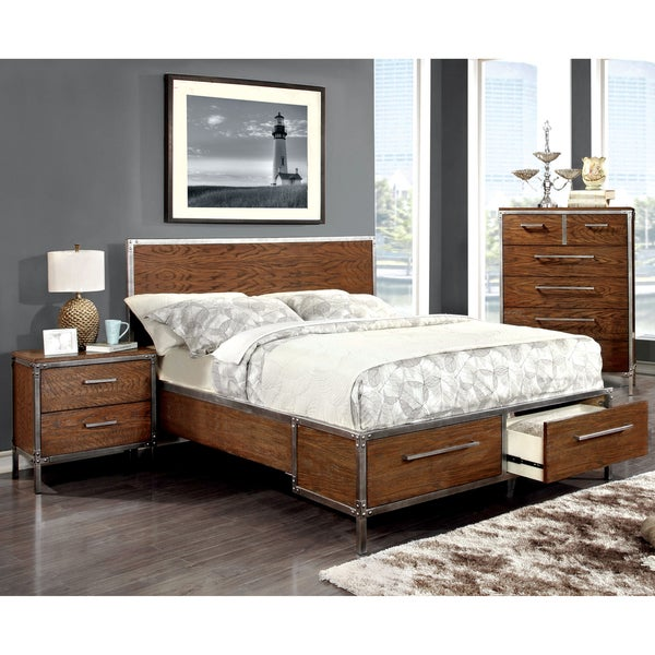 Furniture Of America Anye Industrial Style Dark Oak Platform Bed With Drawers 17150214