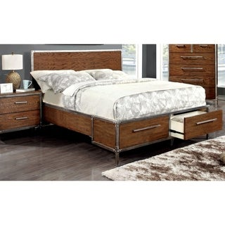 Furniture of America Anye Industrial Style Dark Oak Platform Bed with Drawers