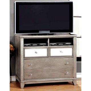 Furniture of America Divonne Modern Crocodile Silver Media Chest